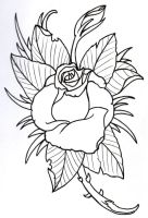 Rose Outline 2 by vikingtattoo