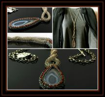 Long wire knit necklace with agate and seed beads by CatsWire
