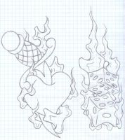 heart and dice on fire sketch by t0rniquet