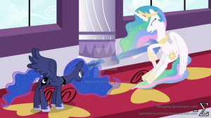 Celestia and Luna Fighting (Luna Major Version) by 90Sigma