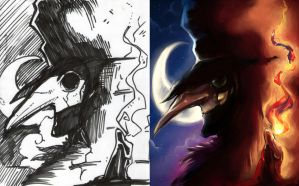 Lord of Crows  - Sketch and final by SketchesLikeaBoss
