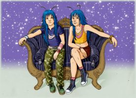 Twins on sofa by AliceSacco