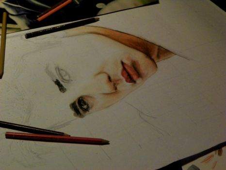 Justin Bieber work in progress drawing by Bluecknight