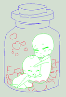 chibi's in a jar base by Cookie-pixel
