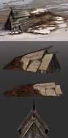Norse farmhouse | Sketch and final 3D render by valachhim