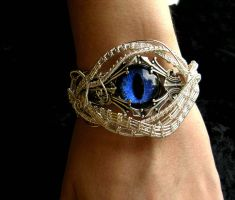 Wire Wrapped Dragon Eye Bracelet - Blue Ocean by LadyPirotessa