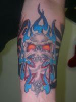 Skull and Blue Flames Finished by dethzen