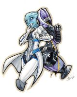 Liara and Tali by AdamWithers