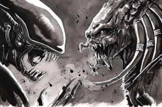 Aliens vs Predator commission by SpaciousInterior