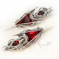 ETERNIXTUS - silver , red quartz , garnet by LUNARIEEN