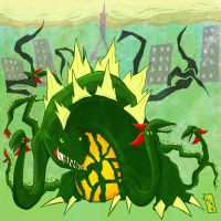 Biollante attacks Paris by Nuclear-Shrimp