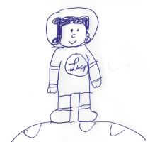 Lucy from Peanuts on the moon by dth1971