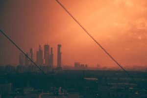 Red sunset over Moscow City by clockorange