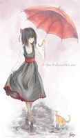 The girl with the red umbrella by C-Yen