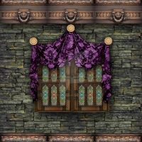 Trimmed wall with small window and purple swag by Spyderwitch