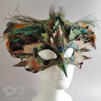 Leather bird mask and crown by Beadmask