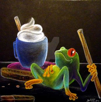 Mocha Morning Froggy final 01 by jonnyyG