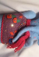 winter elephant hand doll by talitka