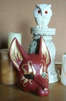 Red and Gold Sun Fox Mask by nondecaf