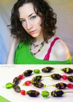 Neon Green and Hot Pink - Paper Bead Necklace by secrets-of-the-pen
