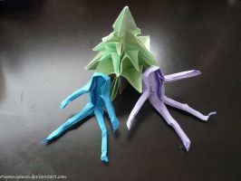 Origami Humans and Trees by OrigamiPieces