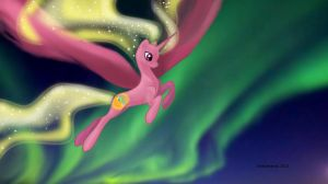 MLP OC Aurora Borealis in flight by snakehands
