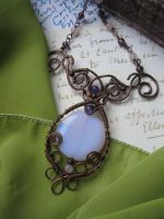 Wire Wrapped Filigree Copper Necklace with Opal by Lirimaer86