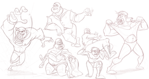 Wrestler Animation - Rough Design Sketches II by AlexanderHenderson