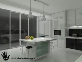 kitchen black and white view 1 by yoel-touch