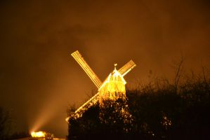 koksijde beach's mill by nighht with fire filter by Silbermannandson