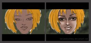 On the left - sketch. Right - only Dodge and Burn by TatianaToutheou