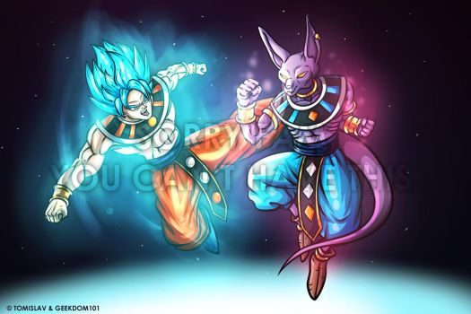 God of Destruction Goku vs Beerus the Destroyer by TomislavArtz
