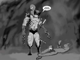 Wolverine and ninjas by Boolean-SS