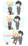 Chibi Drarry - Kitty purrs by Cremebunny