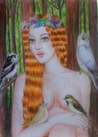 Lady with Birds by Therriveth
