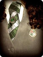 Slytherin and Hogwarts Pin by LadyValaraukar