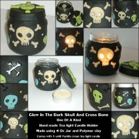 skull n cross bone candle hold by spaztazm