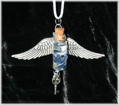Forget Me Not Vial Necklace by fallnangeltears