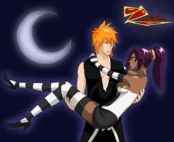 Ichigo and Yoruichi-sama by zephixe1