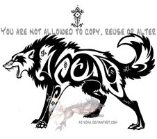 Hieroglyph tribal wolf by Arixona