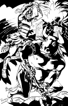 Amazonian and Minotaur by AaronTP