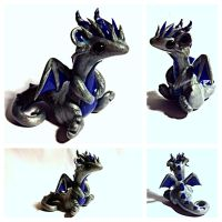 Special order Silver and Blue dragon by LittleCLUUs