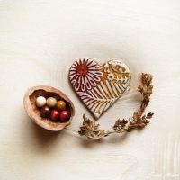Handmade Polymer Clay Magnet Heart by SuniMam