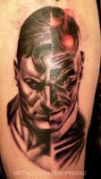 Superman and Brainiac tattoo by simonhayag