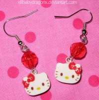 HelloKitty Earrings by xlilbabydragonx