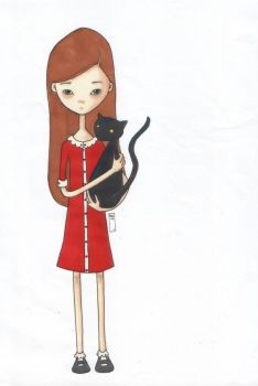 Girl with cat by ghehcore