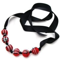 Tartan Fabric Bead Necklace by fairy-cakes