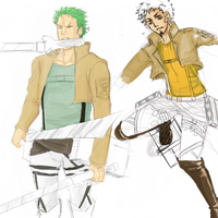 SNK Zoro and Law by DariusBishop