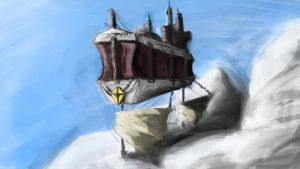 Dungeons and Dragons campaign concept art, airship by SaintElmosWire