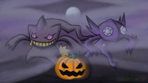 Have a Banette-Sableye Halloween by issabissabel